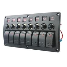 8 갱 LED 보트 로커 스위치 패널 회로 차단기 DC 12/24V 자동차 해양 증기선 요트 모터 홈 트레일러 RV 캠핑카 트럭