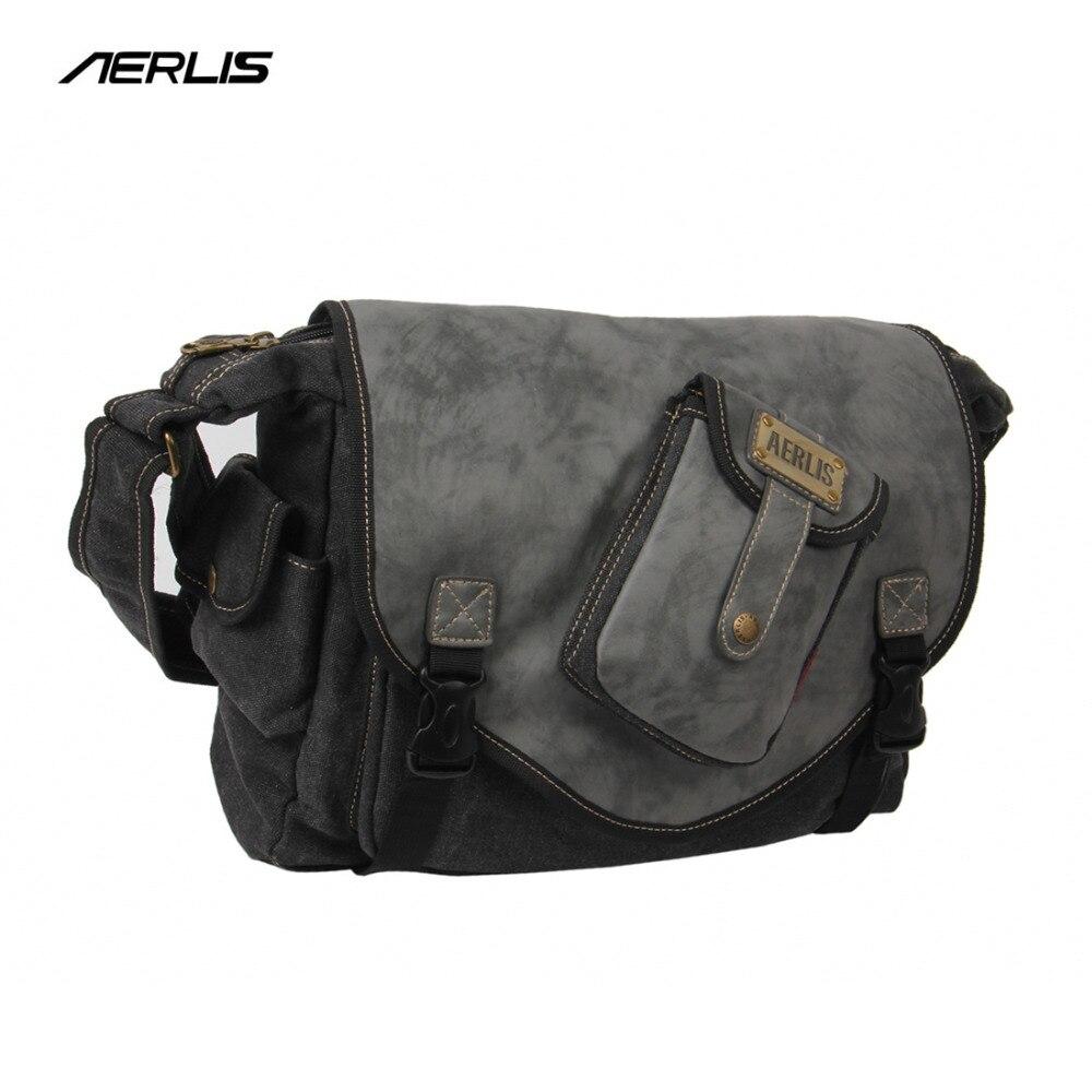 933df844d Aerlis única marca mensajero crossbody bolso bolsa de lona de los hombres  patchwork de cuero taleguilla masculino Bolsos de hombro bolsillo de la  aleta 4391 ...