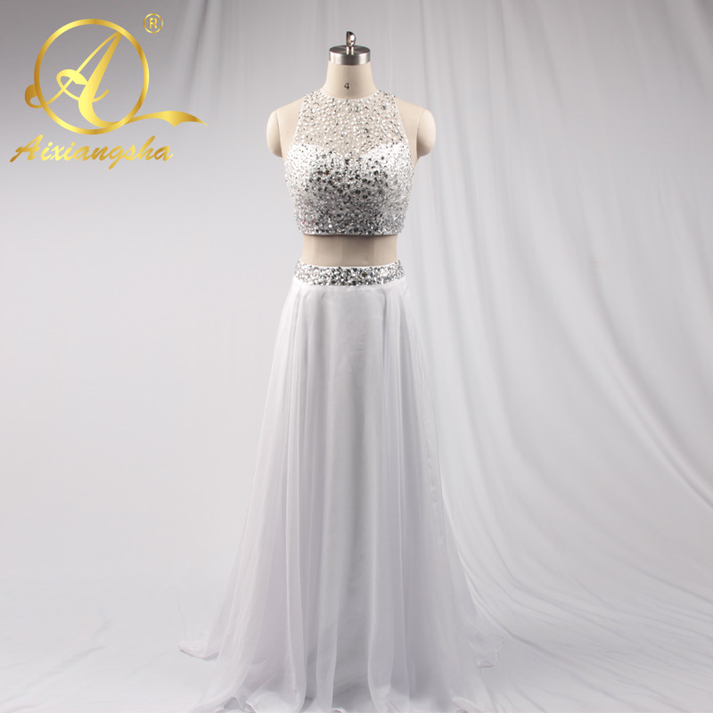 Beading Evening Dresses Sleeves 2 Piece Sexy Prom Dress 2017 Long Party Dress Vestido Baile New Arrival Pearls Princess