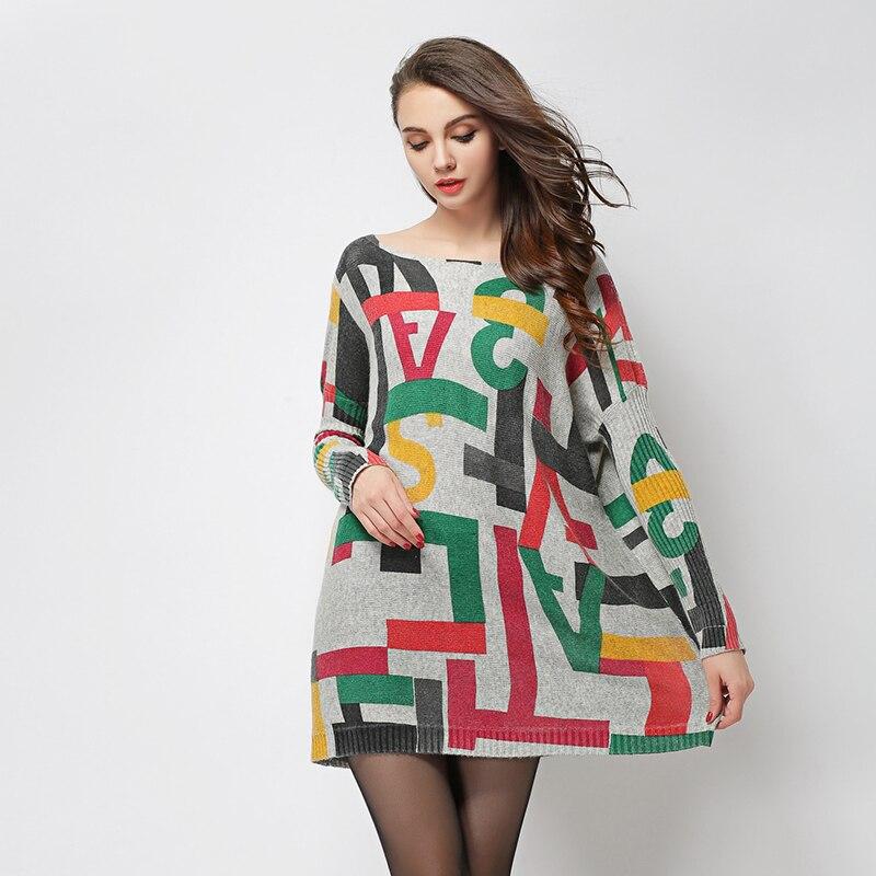 Jielur 2019 Winter Herbst Brief gedruckt übergroßen Pullover für - Damenbekleidung - Foto 3