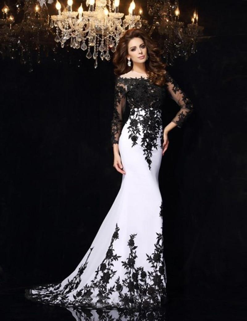 2016 Black Applique Mermaid White Formal Evening Gowns Lace Applique ...