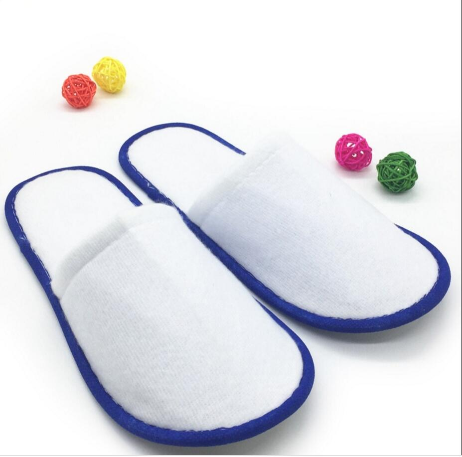 100 Pairs/lot  Of White Towelling Hotel Disposable Slippers Terry Spa Guest Shoes Blue Yellow Blue Green  Home Slippers