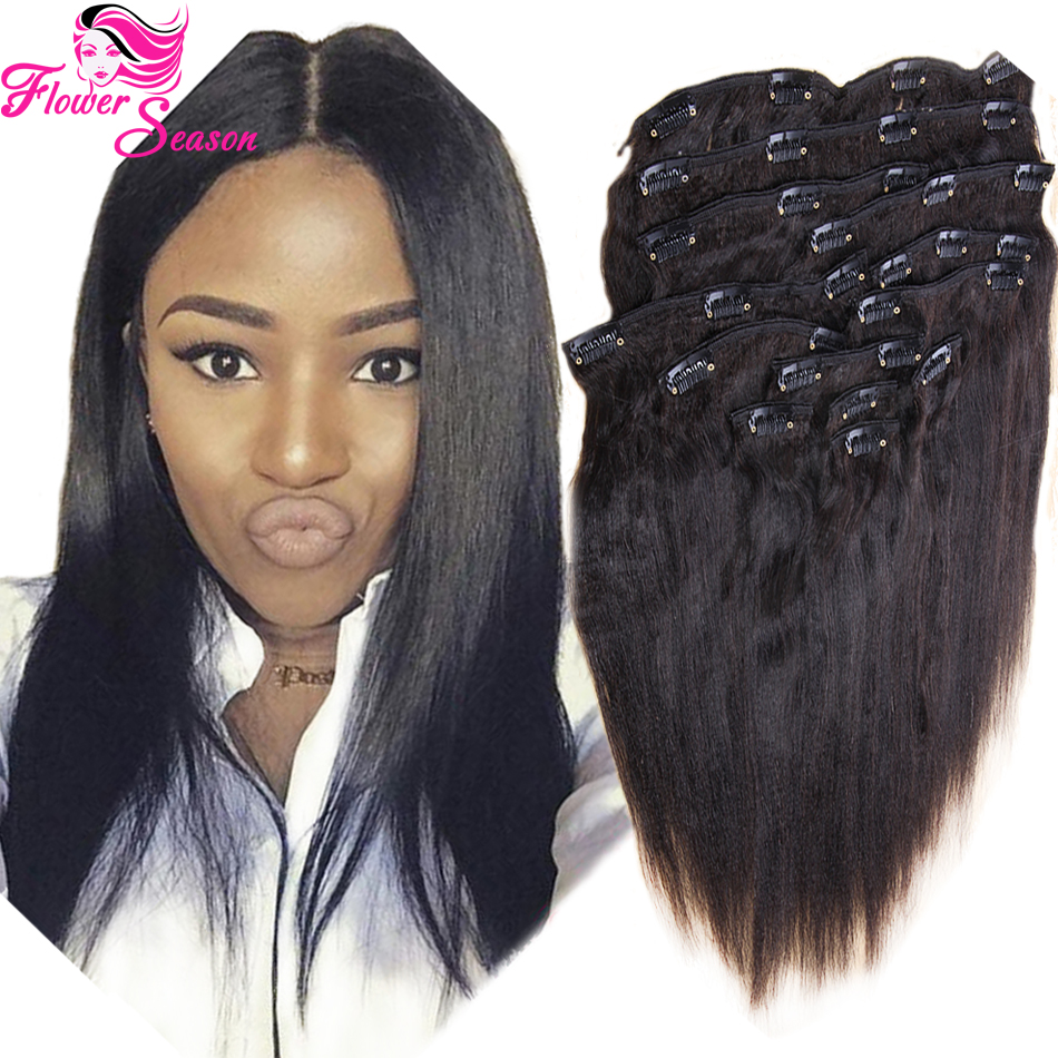Yaki Human Hair Clip In Extensions 95