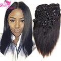 Yaki Clip en extensiones de cabello cabeza llena de Color Natural 70 gramos - 120 gramos Yaki virginal malasia Clip en extensiones de cabello humano