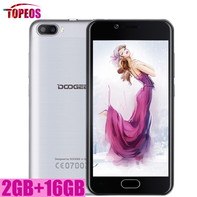 Android 7.0 DOOGEE SHOOT 2 Dual Rear Cameras Smartphone Fingerprint ID 2GB+16GB MTK6580A Quad Core 5'' HD 1280*720 Mobile Phone