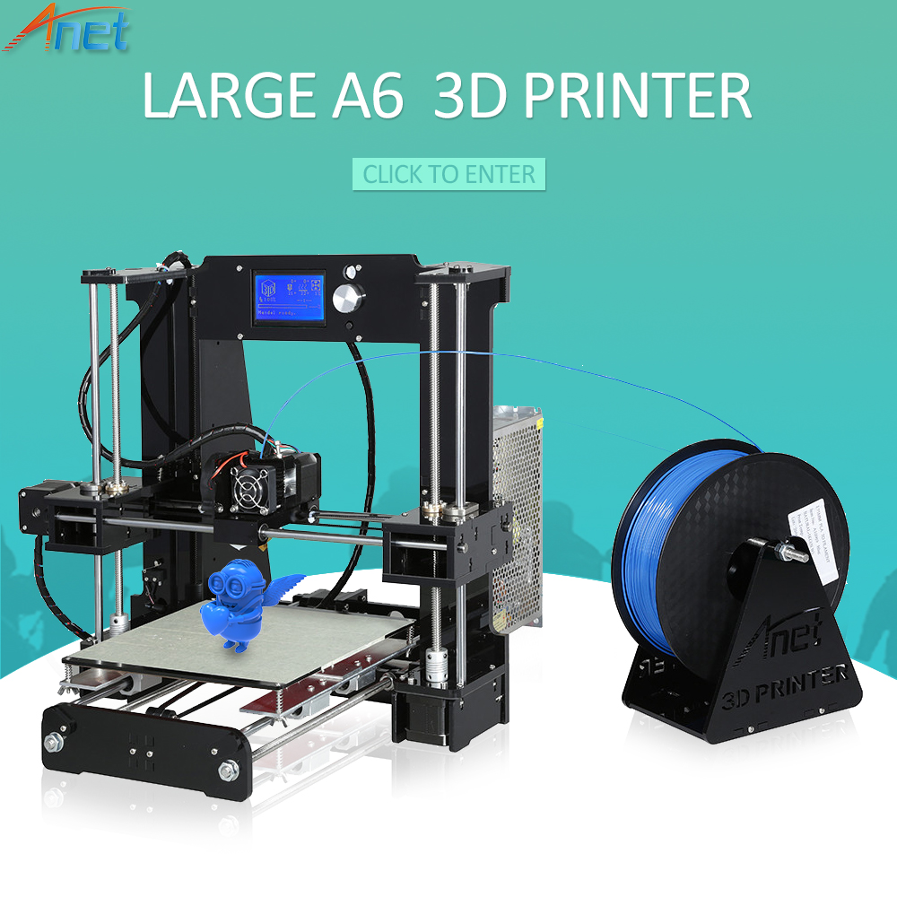 New ! Anet A2 A6 A8 E10 E12 3D Printer Kit Easy Assemble Auto Leveling Large Size Reprap i3 with Filament High Quality cheap anet high precision auto leveling 3d printer big size lcd 2004 220 270 220mm metal 3d printer kit with 10m filament sd card