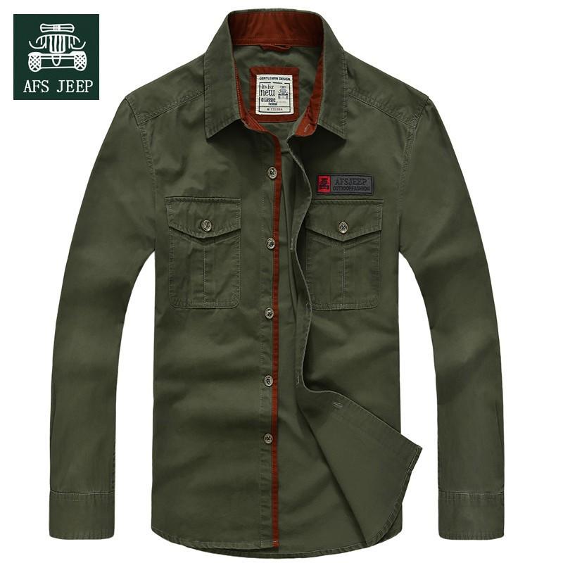 AFS JEEP 2015 Spring Autumn Fashion Men\'s Cotton Dress Plus Size Shirts Camisa Hombre Blouse Vestido Men Clothes Casual 2XL 3XL
