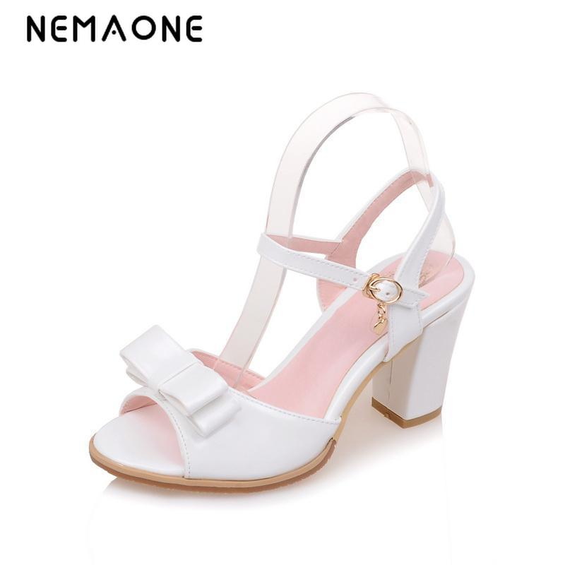 2016 Big Size 34-43 Fashion Thick Med Heels Less Platform Sandal For Women Sexy Casual Buckle Strap Summer Dress Shoes стоимость