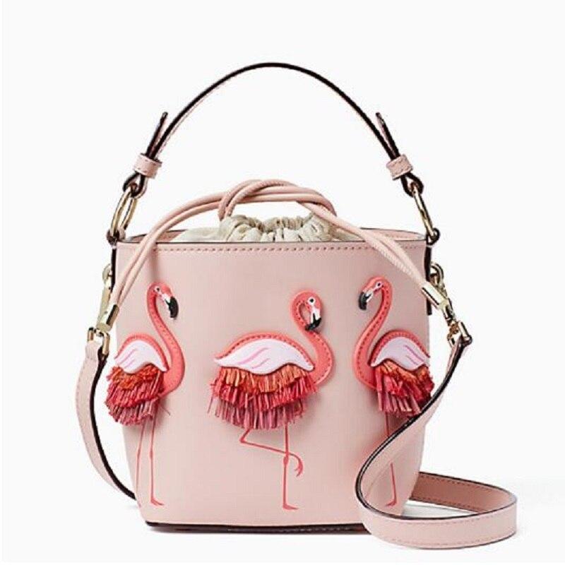 Brand Fashion Show Bag Women Bags PU Leaather Female Flamingo Bucket bag Women Shoulder Bags Designer Handbags shoulder bag