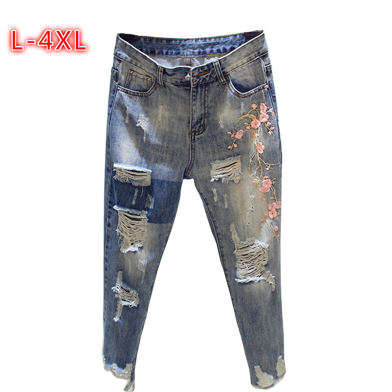 Azul Size Plus Verano Flores Jeans Flojo 2018 Pantalones 4xl Bordado Estiramiento Ripped Denim Mujeres Haren 3xl fIqXw7xgn
