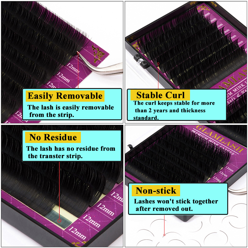 GLAMLASH 16Rows Faux mink soft mink individual eyelash extension lashes maquiagem cilios for professional perfect use 4