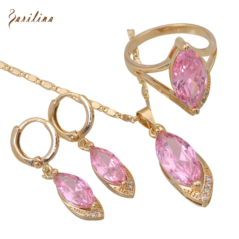 Wholesale Retail Fashion Pink CZ Morganite stones Gold Plated Pendants Earring ring Jewelry Set size 6