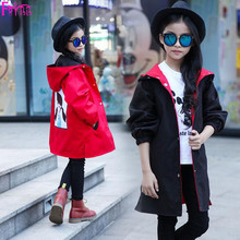 Kids Children's Clothing Outerwear Coats Jackets SHwxyexc Winter Coat Jacket Girls Red Black Two-way Cartoon Print Girls Coat