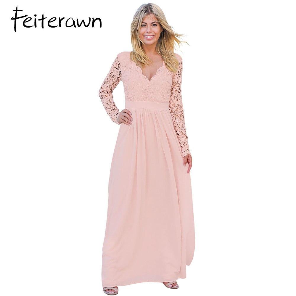 Feiterawn vestido largo 2018 otoño elegante vestidos sexy espalda ...