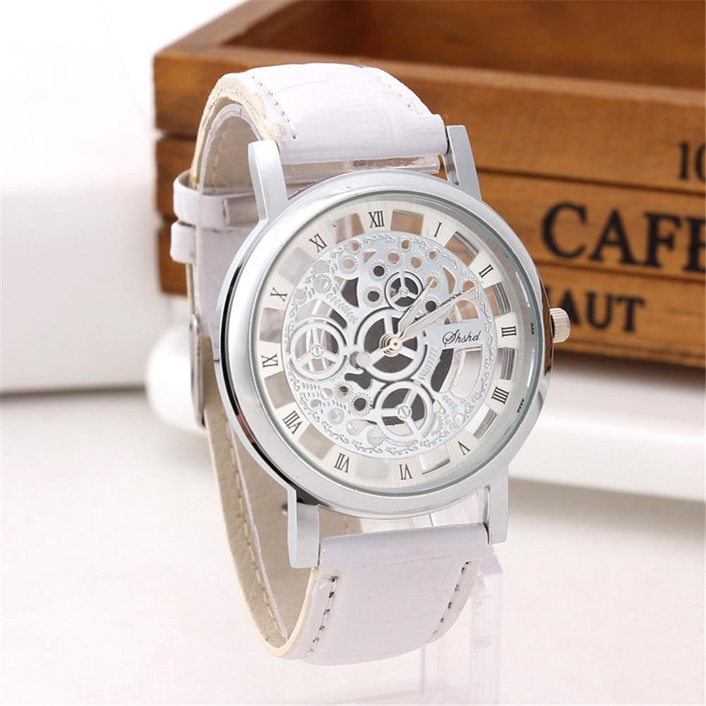 Fashion Business Watch Women Engrave Skeleton Hollow Reloj Hombre Dress Quartz Wristwatch Leather Band Women Clock Men Watches