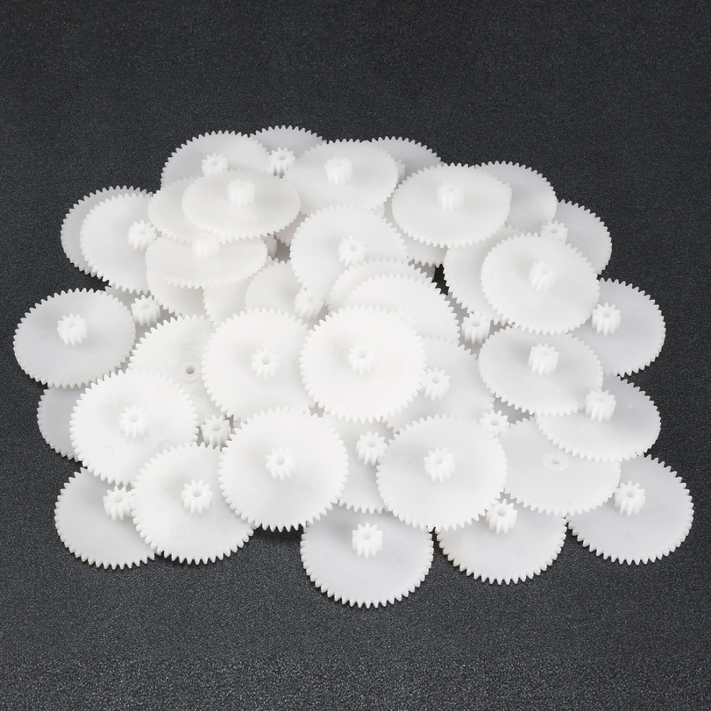 Uxcell Newest 50pcs Plastic Gear Toy Accessories With 50T 56T 48Teeth For DIY Cars Robot Motor Model 50102A 562A 482A