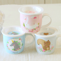 home office water cup Cute cartoon mug with cover send spoon porcelain scale milk cup as Christmas exquisite gift free shipping