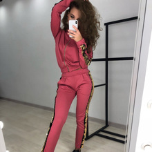 Women 2Pcs Set Top and Pants Club Outfits Ensemble Sport Femme Tracksuit Normcore/Minimalist Zipper Hooded