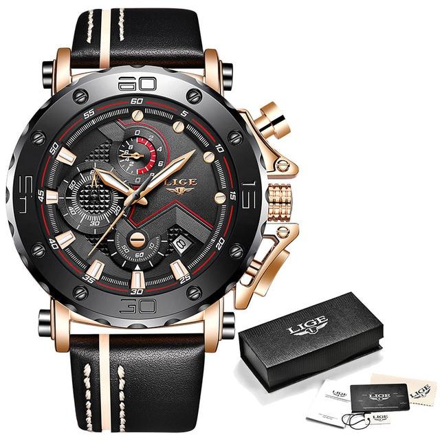 New LIGE Men Watches Top Brand Luxury Fashion Big Dial Sports Quartz WristWatch Mens Casual Leather Waterproof Chronograph 2019 | Fotoflaco.net