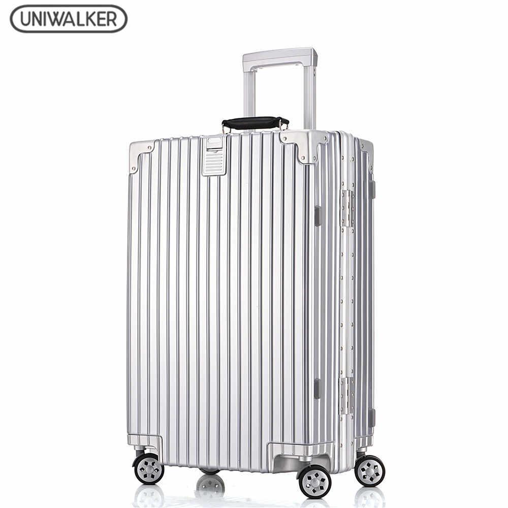 UNIWALKER унисекс мода путешествия большой ёмкость высокое качество чемодан  Бесплатная доставка Rolling Hardside чемодан на колесиках 9fb9da0322e