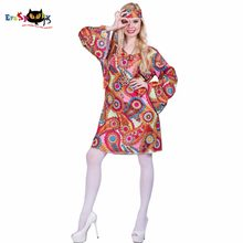 2017 Flower Printed Long Sleeve Boho Dresses Hippie Dress With Headband Adult Halloween Cosplay Plus Size Halloween Costumes(China)