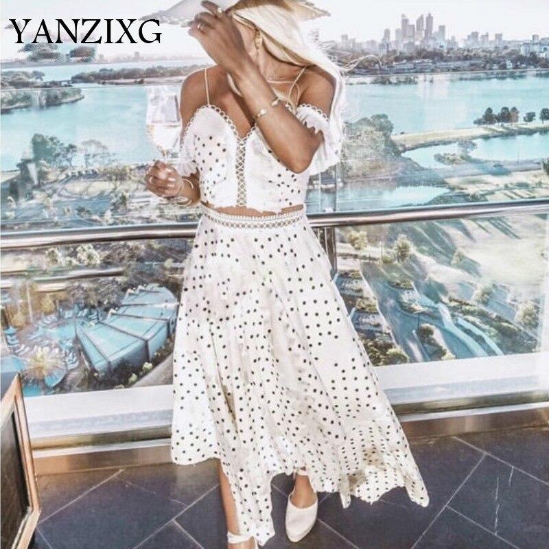 Новинка 2019, летняя модная женская одежда, открытая, в горошек, короткая, камзол, нестандартная юбка, 2 предмета, R262