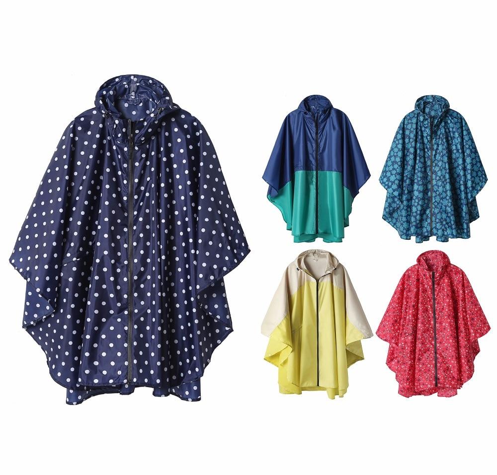 Freesmily Women's Fashion Raincoat Waterproof Rain Poncho Cloak with Hood for Hiking Climbing and Touring