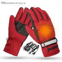 Winter Electric Heated Gloves Men Women Hand Warmer, 3.7V 2000mAh Rechargeable Battery Heating Couple Glove, Sport Ski Mittens