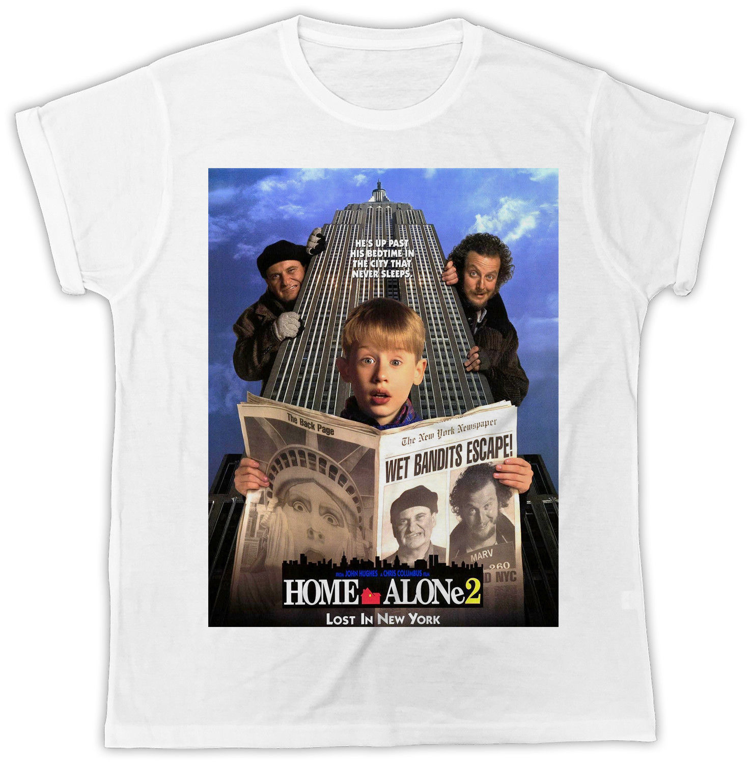 COOL HOME ALONE FUNNY MOVIE POSTER UNISEX RETRO COOL WHITE T-SHIRT Pure Cotton Round Collar Men Top Tee T Shirt Plus Size