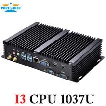 Мини-Компьютер Без Вентилятора Mini PC Windows 10 Celeron 1037u 1 * LAN 2 * RS232 промышленного PC Прочный PC Мини Computador