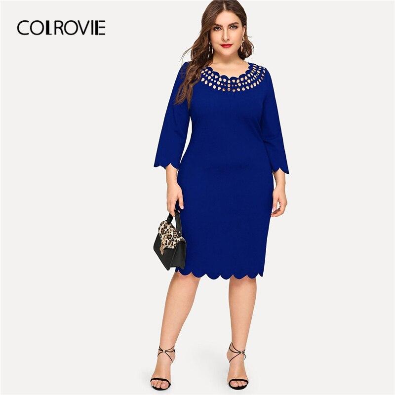 COLROVIE Blue Laser Cut Dress