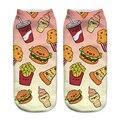 2016 Casual low cut Calcetines Divertido Harajuku 3D kawaii hamburguesa de comida rápida Para El Tobillo Calcetines Calcetines Femmes Rigolote Calcetines