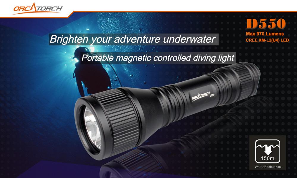 ORCATORCH D550 970 LM Diving Flashlight Underwater Scuba Diving Light 8