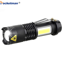 3800LM ไฟฉาย LED แบบพกพา Mini XML Q5 + COB ซูม 4 โหมดไฟฉายไฟฉายใช้แบตเตอรี่ AA 14500 โคมไฟกันน้ำโคมไฟ