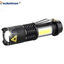 3800LM LED פנס נייד מיני XML Q5 + COB זום 4 מצבי לפיד פנס שימוש AA 14500 סוללה עמיד למים תאורת פנס