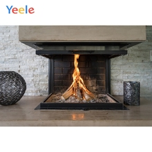 Yeele Fireplace Living Room Fire Wallpaper Winter Photography Backdrops Personalized Photographic Backgrounds For Photo Studio