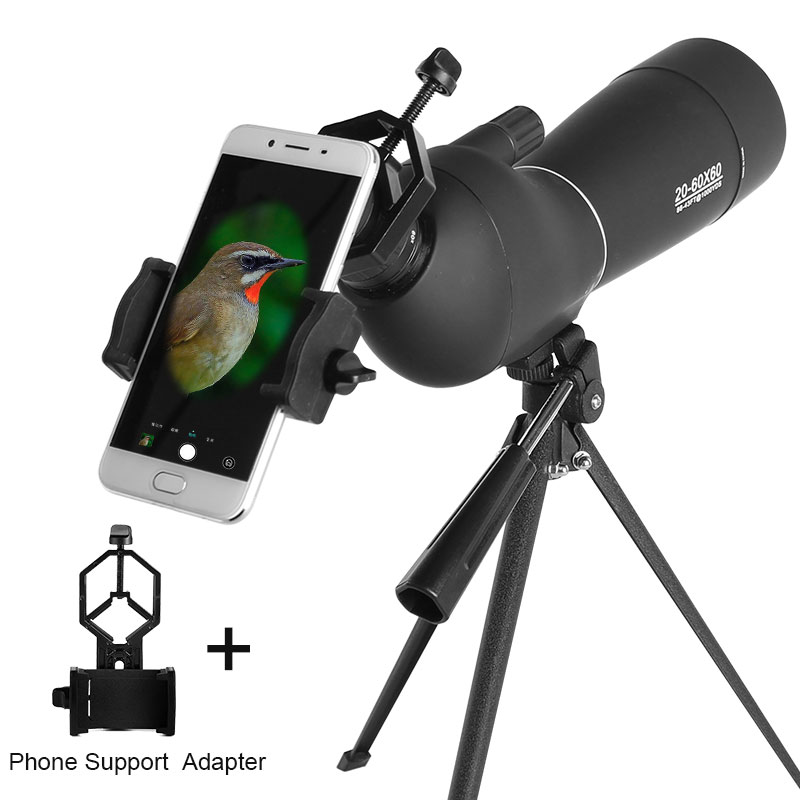 New 20-60X60 Zoom Spotting Scope with Tripod Smart Phone Holder HD Bird Watching Hunting Shotting Monocular Telescope Black 20 60x70 zoom spotting scope monocular outdoor telescope with portable tripod monoculares professional bird animal telescope