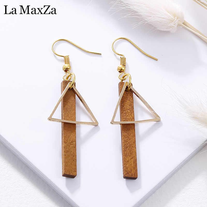 Natural Wood Drop Earrings for Women Fashion Statement Golden Geometric Strips Dangle Earring Ear Korean Girls Jewelry Gift