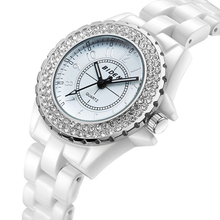 Womens Fashion Rhinestone Ceramics Quartz Watch Business Electronic Watch