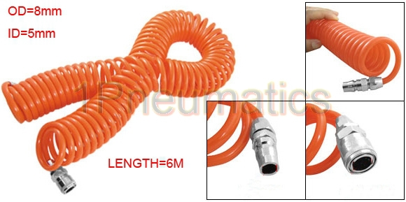 Free Shipping 6M Length Pneumatic Components PU5 * 8mm Spring Trachea w Quick Connector Pneumatic Plastic Coil Tube Pipe Hose free shipping 30pcs peg 10mm 8mm pneumatic unequal union tee quick fitting connector reducing coupler peg10 8