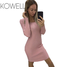 Women Vestidos Robe Femme Casual Party Sundress Sexy Beach Vintage 2018 Autumn Winter Long Sleeve Knitted Sweater Ladies Warm S