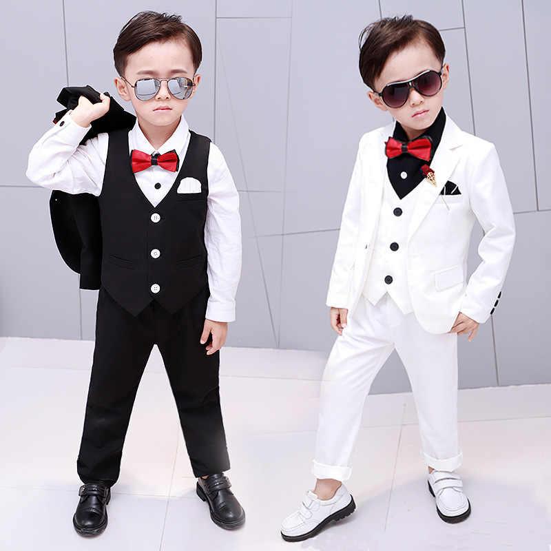 6b0ad8db 2018 Brand Flowers Boys Suits Wedding Formal Children Suit Tuxedo Dress  Party clothing vest pant coat