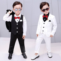 5pcs/Set New Children's white suits blazer for boys costume wedding clothes kids formal jacket Boy tuxedo baby blazers 2 12Y