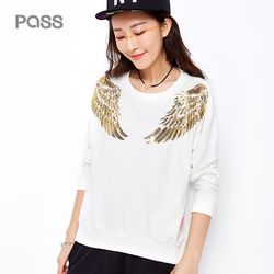 Pass 2017 new autumn o neck sweatshirts wings sequin shirts long sleeve casual pullovers tops.jpg 250x250