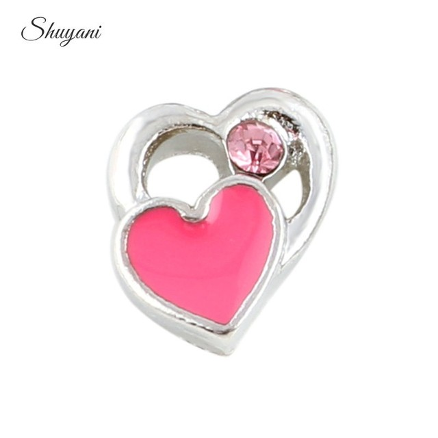 Aliexpress buy 20pcslot newest floating crystal enamel pink 20pcslot newest floating crystal enamel pink heart charms for living glass locket pendant wholesale aloadofball Choice Image