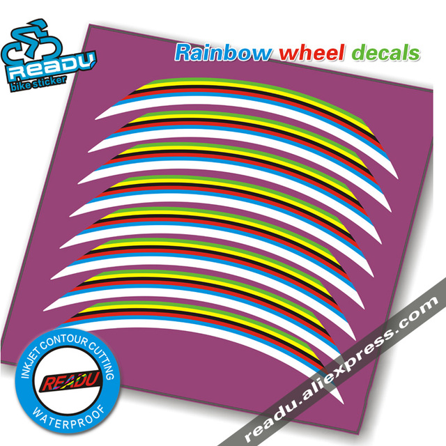 Road bicycle Wheel rainbow stickers Suitable for 40 50 60 64mm roval rim  depth bike wheel