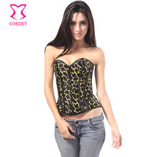 dca98cec58a Burlesque Yellow Crack Printed Cotton Gothic Corsets And Bustiers Zipper  Overbust Corset Steel Boned Waist Trainer