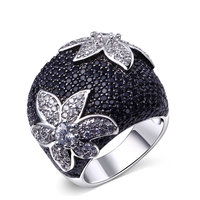 New Hot Two Tone Fashion Rings For Women Flower Pattern High Quality Dress Party Evening Elegant