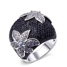 New Hot Two-Tone Fashion Rings for Women Flower Pattern High quality Dress party evening Elegant Fashion Rings White Black Color