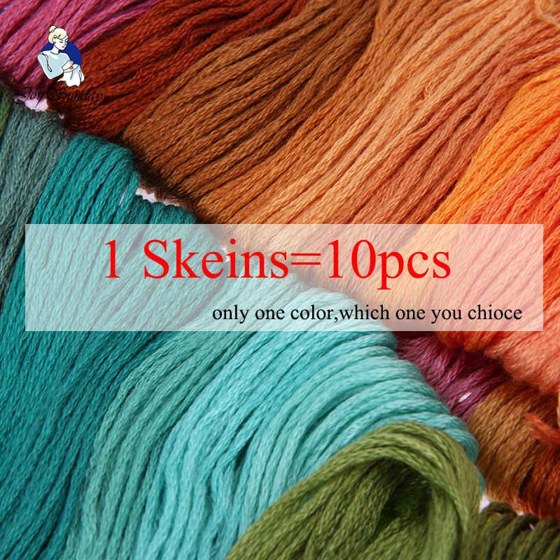 JOY SUNDAY, DMC819-892 Multicolor 10 ชิ้น 1.2 เมตรด้าย Cross Stitch เย็บผ้าฝ้าย Skeins เย็บปักถักร้อยไหมขัดฟันชุด DIY SewingThread